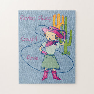 Cowgirl Rose Rodeo Champ Lasso Tricks Jigsaw Puzzle