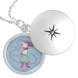Cowgirl Rose Rodeo Champ Lasso Tricks Locket Necklace