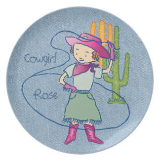 Cowgirl Rose Rodeo Champ Lasso Tricks Plate