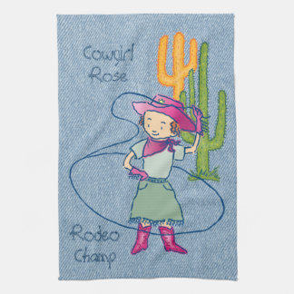 Cowgirl Rose Rodeo Champ Lasso Tricks Tea Towel