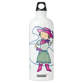 Cowgirl Rose Rodeo Champ Lasso Tricks Water Bottle