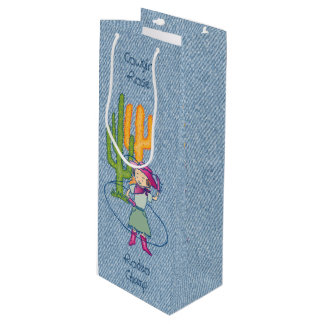 Cowgirl Rose Rodeo Champ Lasso Tricks Wine Gift Bag