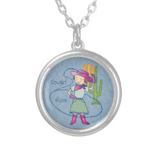 Cowgirl Rose Rodeo Champ Lasso  with Cactus Silver Plated Necklace