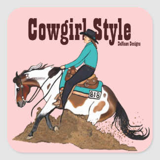 Cowgirl Style Reining Horse Sticker