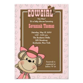 "Cowgirl Western Monkey 5x7 Baby Shower Invitation 5"" X 7"" Invitation Card"