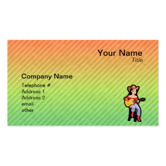 Cowgirl with Guitar; Colorful Business Card