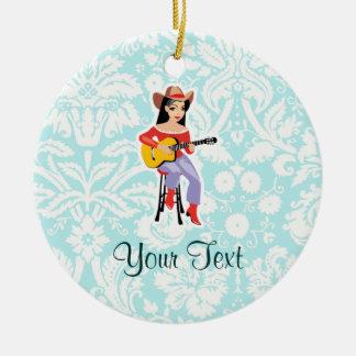 Cowgirl with Guitar; Cute Ceramic Ornament