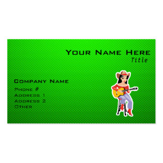 Cowgirl with Guitar; Green Business Card Templates