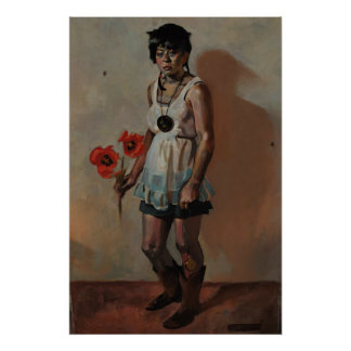 cowgirl with poppies poster