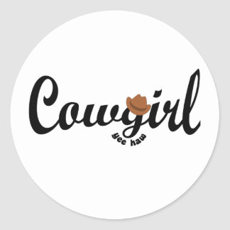 cowgirl yeehaw round sticker