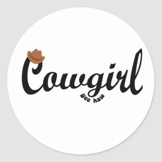 cowgirl yeehaw round stickers