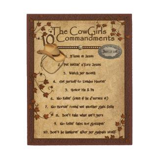 Cowgirls 10 Commandments Wood Print