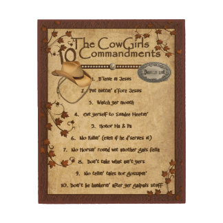 Cowgirls 10 Commandments Wood Wall Decor