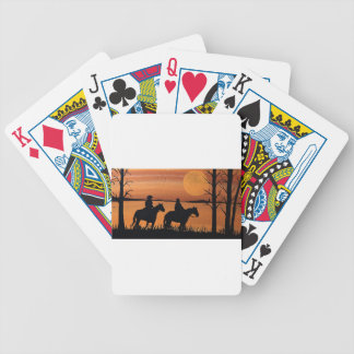 Cowgirls and horses bicycle playing cards