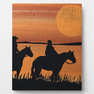 Cowgirls and horses plaque
