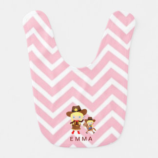 Cowgirls Sheriff Officer Horse on Chevron Baby Bibs