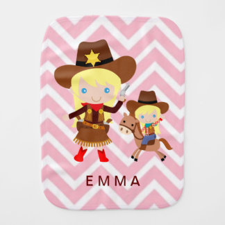 Cowgirls Sheriff Officer Horse on Chevron Baby Burp Cloth
