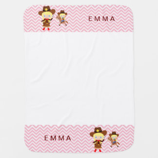 Cowgirls Sheriff Officer Horse on Chevron Buggy Blankets