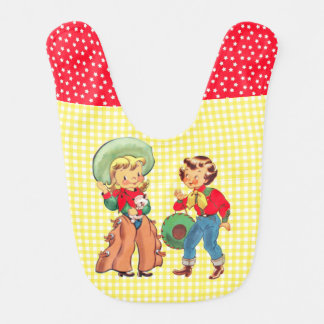Cowgirls With  Yellow  Check Background Bib