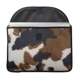 Cowhide Leather Print Rickshaw Macbook Sleeve For MacBooks