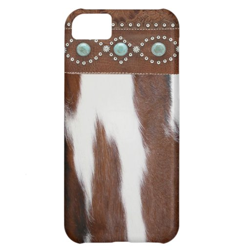"""""""Cowhide & Turquoise"""" Western IPhone 5 Case"""
