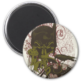 Cowl and Skull Manuscript Vintage Collage 6 Cm Round Magnet