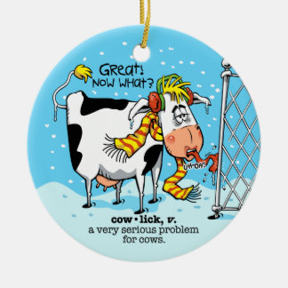 Cowlick Cow Ceramic Ornament