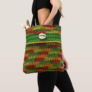 Cowrie Shell on Autumn Colors Unique Crochet Print Tote Bag