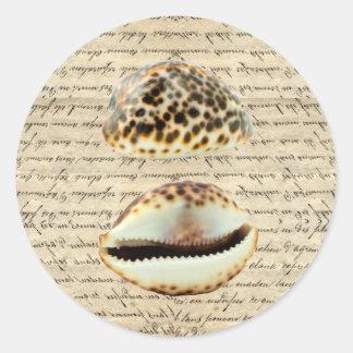 Cowrie shells classic round sticker