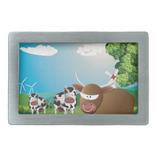 Cows and Bulls on Lawn Belt Buckle