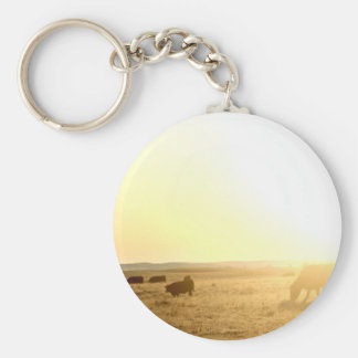 Cows at Sunrise on the Prairies Key Ring