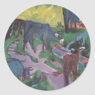 Cows at Sunset by Ernst Ludwig Kirchner Round Sticker
