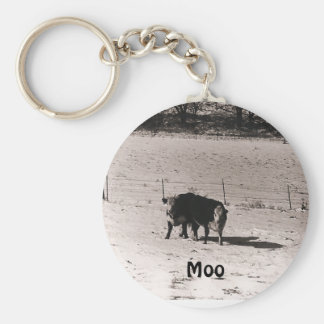 cows basic round button key ring