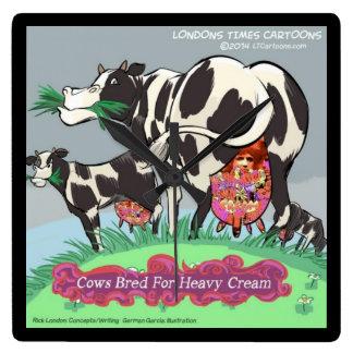 Cows Bred 4 Heavy Cream Funny Square Wall Clock