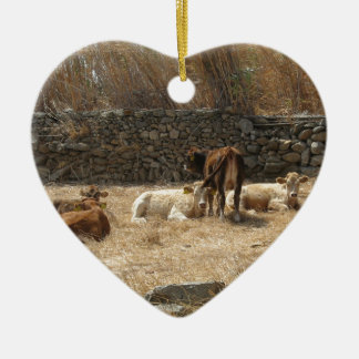 Cows Ceramic Heart Decoration