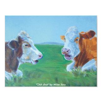 Cows chatting & lying down illustration Chit Chat 11 Cm X 14 Cm Invitation Card