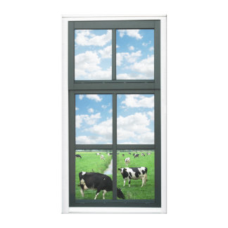 Cows Faux Window View Stretched Canvas Print