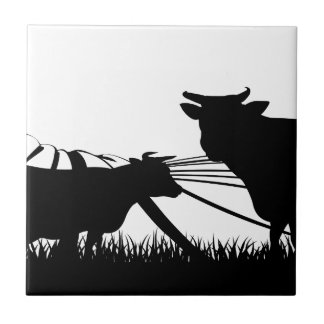 Cows field concept ceramic tile