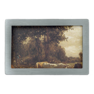 Cows Grazing by Constant Troyon Rectangular Belt Buckles