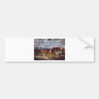 Cows in a Pasture by Eugene Boudin Bumper Sticker