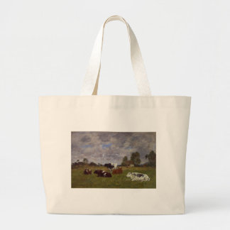 Cows in a Pasture by Eugene Boudin Jumbo Tote Bag