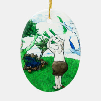 Cows in Skirts and Dresses Ceramic Oval Decoration