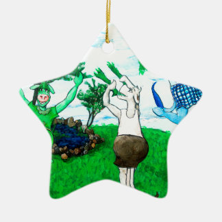 Cows in Skirts and Dresses Ceramic Star Decoration