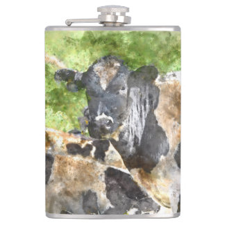 Cows in the Field Hip Flask