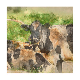 Cows in the Field Wood Canvases