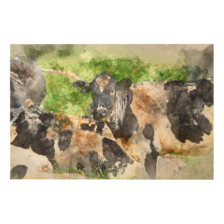 Cows in the Field Wood Wall Decor