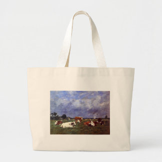 Cows in the Pasture by Eugene Boudin Jumbo Tote Bag