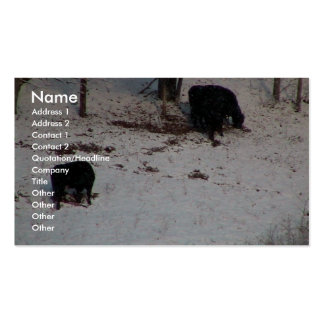 Cows In The Snow Fall Business Card Template