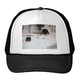 Cows In The Snow Fall Mesh Hats