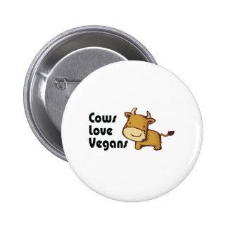 cows love vegans 6 cm round badge